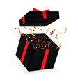 opened 3d realistic gift box with bow and confetti vector image