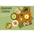 Oriental seafood dishes of japanese cuisine icon vector image vector image