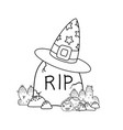 outline rip stone wearing with hat and spider vector image