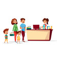 people at supermarket checkout counter vector image vector image