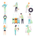 people gathering sorting waste for recycling set vector image