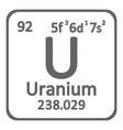 periodic table element uranium icon vector image vector image