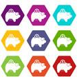 pig money box icon set color hexahedron vector image vector image