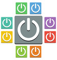 power button icons - almost flat style - 9 colors vector image vector image
