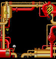 red and gold gas pipes on black vector image