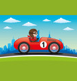 red car on the road vector image vector image