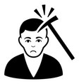sad murder with hammer black icon vector image