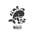 save the whales logo design protection of wild vector image