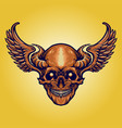 scary skull horn wings vector image