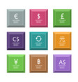 set of colored icons with currency signs vector image