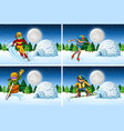 set of snow activity at night vector image