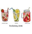 set three refreshing summer drinks strawberry vector image vector image