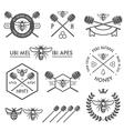 set vintage honey labels and design elements vector image vector image
