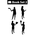 Silhouette book set 2 vector image
