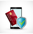 smartphone with credit card and shield icon vector image