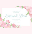 wedding invitation pink cherry sakura horizontal vector image vector image