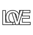 word love letter outlines intersection lettering vector image vector image