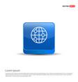 world globe icon - 3d blue button vector image vector image