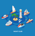 yacht club round composition vector image