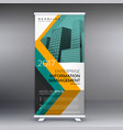 yellow and blue standee roll up banner design vector image vector image