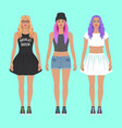 cute hipster girls vector image