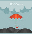 red umbrella in rainy day vector image