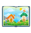 Open book about funny girls and magical world vector image