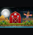 a farmland scene at night vector image vector image