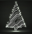 abstract technology glowing christmas tree vector image vector image