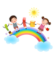 Back to school School kids over rainbow vector image vector image