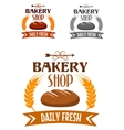 Bakery shop logo with fresh bread vector image