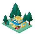building and car scene isometric vector image
