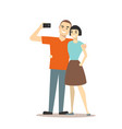 cartoon couple takes selfie concept vector image vector image
