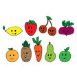 cartoon vegetable cute characters face isolated on vector image vector image