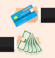 cash money banknote and credit card vector image vector image