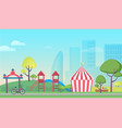 children playground in big city cartoon flat vector image