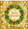 Christmas Background With Wreath vector image