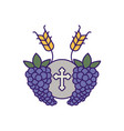 communion wafer with grapes fill design vector image vector image