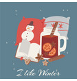 cosy winter scandinavian elements and concept vector image