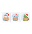 cute christmas greeting card with elephant vector image vector image
