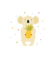 cute koala character with pineapple vector image vector image