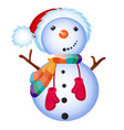 cute snowman smiles isolated on a white background vector image vector image