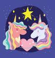 cute unicorns portrait rainbow mane heart and star vector image vector image