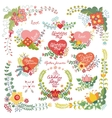 Cute vintage floral set with heartsLove decor vector image