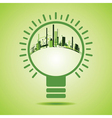 Eco City inside of a green light bulb vector image
