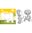 elephant puzzle vector image vector image