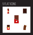 flat icon bitter set of dessert sweet chocolate vector image vector image