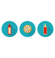 flat pizza ketchup bottle mayo bottle vector image vector image