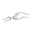 Hands of mother and child vector image