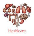 heart health symbol composed of human organ sketch vector image vector image